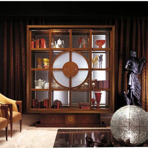 klassische Vitrine / Glas / Massivholz / aus Mahagoni