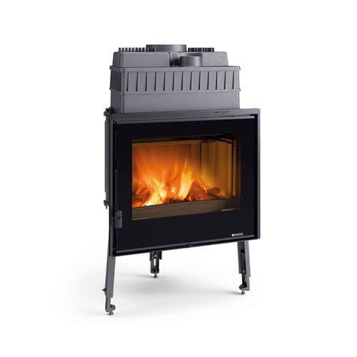 Holzkamin / modern / geschlossene Feuerstelle / freistehend