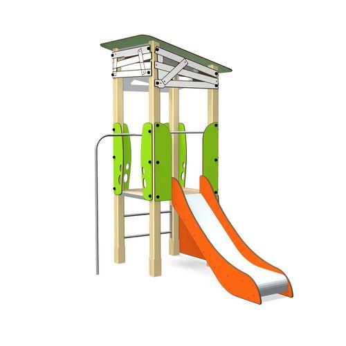 Spielplatzgerät für öffentliche Räume / Holz / Aluminium