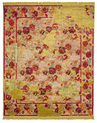 moderner Teppich / Blumenmotive / Wolle / rechteckig