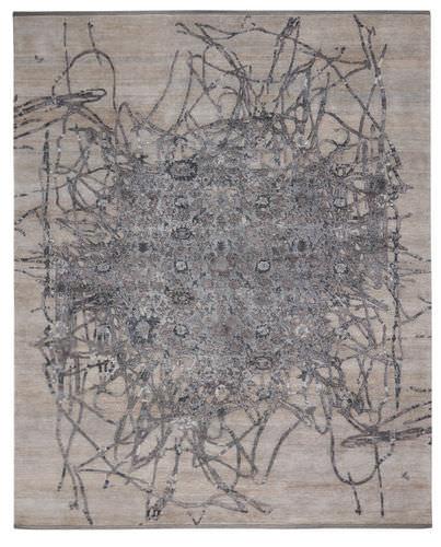 moderner Teppich / Motiv / Wolle / Seide