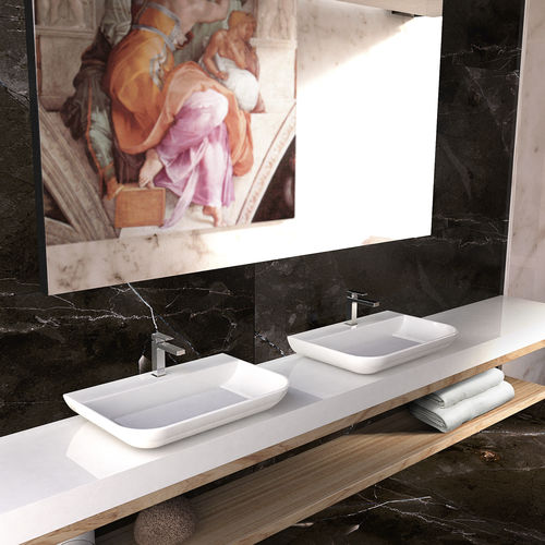 Aufsatzwaschbecken / rechteckig / Mineralwerkstoff / originelles Design