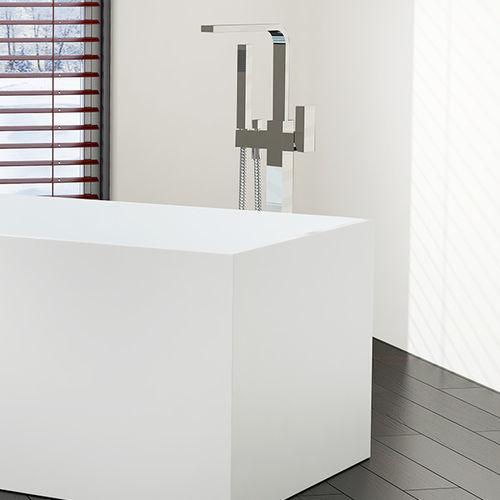 Einhebelmischer für Waschtisch / für Badewanne / bodenstehend / aus verchromtem Messing