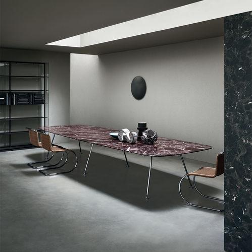 moderner Esstisch / Holz / Glas / Metall
