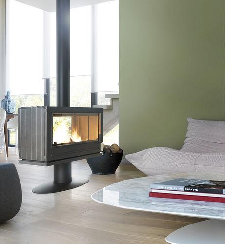 Holz-Kaminofen / modern / 2-seitig / Metall