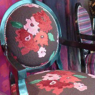 Gardinenstoff / Möbel / Blumenmotive / Baumwolle