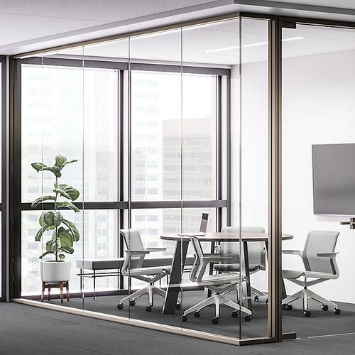 festinstallierte Trennwand / Glas / Büro / ohne Vertikalpfosten