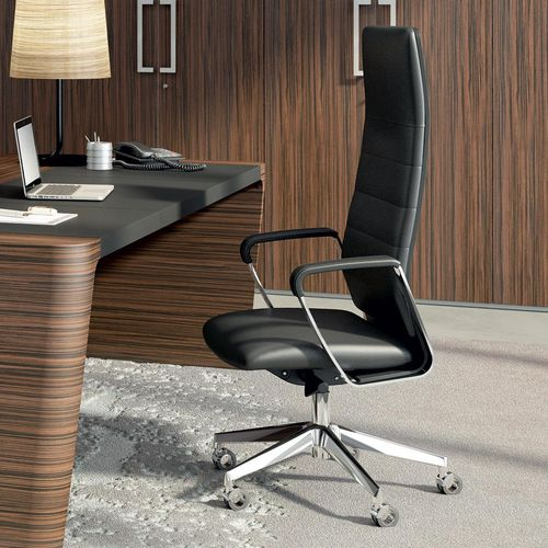 moderner Chefsessel / Leder / poliertes Aluminium / aus Sperrholz