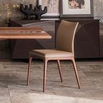 moderner Stuhl / Gewebe / aus Buche / Nussbaum