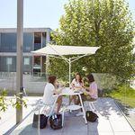 Edelstahl-Sonnenschirm / Polyester / mit integrierter Beleuchtung