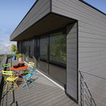 PVC-Fassadenverkleidung / geriffelt / Lamellen / Holzoptik