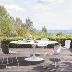 moderner Stuhl / Kufen / mit abnehmbarem Kissen / Stahl