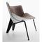 moderner Sessel / Stoff / Leder / aus Aluminiumguss