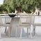 moderner Stuhl / aus Iroko / Aluminium / gestrichenes Metall