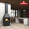 Holzkamin / modern / geschlossene Feuerstelle / wandmontiert