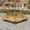 Parkbank / modern / Holz / mit Rückenlehne