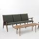 Sofa / Skandinavisches Design / Nussbaum / Stoff / 3 Plätze