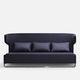 modernes Sofa / Stoff / Leder / verchromtes Metall