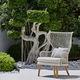 moderner Sessel / Stoff / aus Iroko / Aluminium