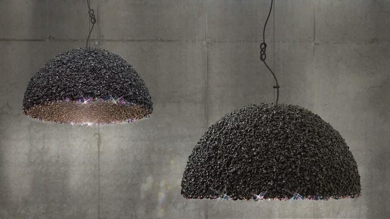 Lampe aus Marmor und Swarovski   Die schwarze Variante