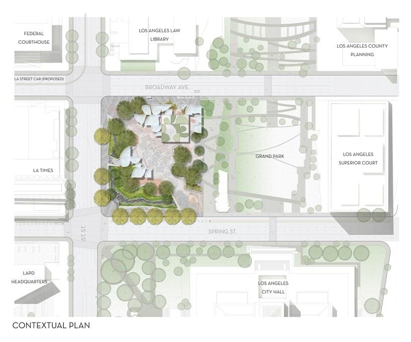 OMA, zum Behördenviertelparks des LA mit gemeißelt Überdachungen zu ...