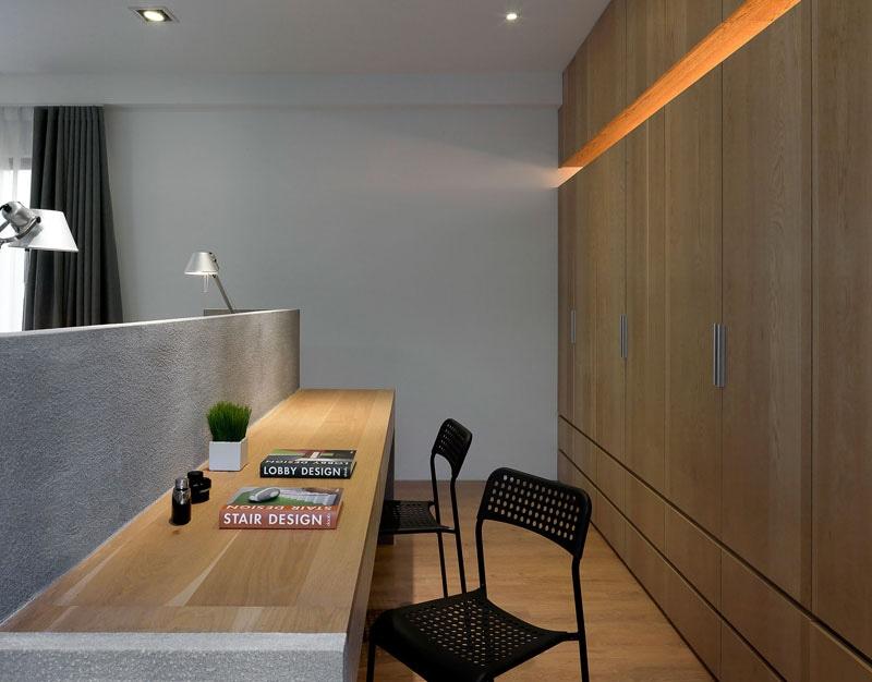 Schlafzimmer-Entwurfs-Idee – Ein Schreibtisch Errichtet In Die