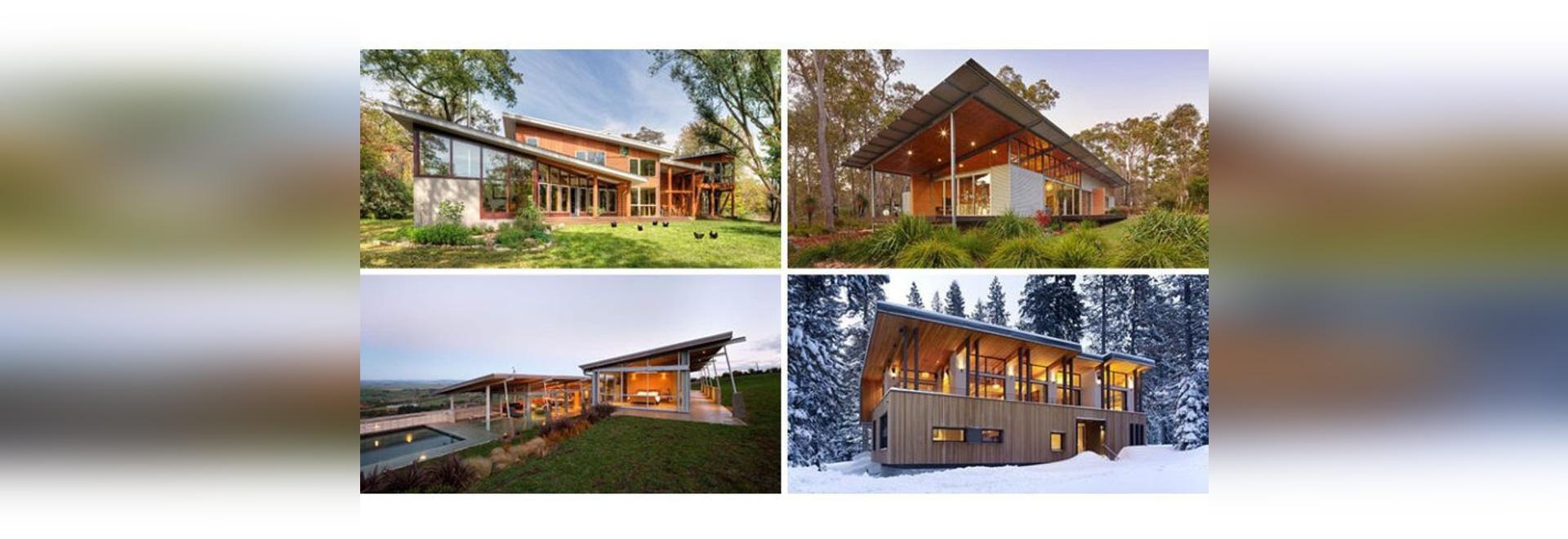 16 Beispiele von modernen Häusern mit einem geneigten Dach - 1148 NW ...