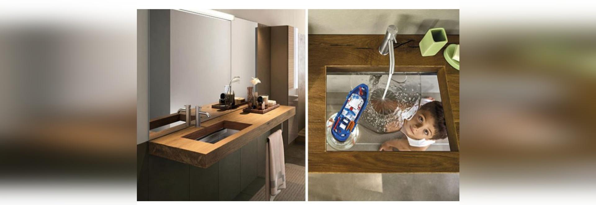 Diese Badezimmerwanne war mit einer transparenten Glasunterseite entworfen