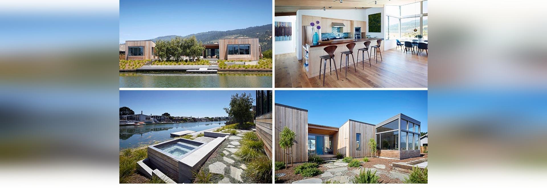 Dieses moderne Haus in Kalifornien war mit einer Heiß-Wanne nahe bei ...