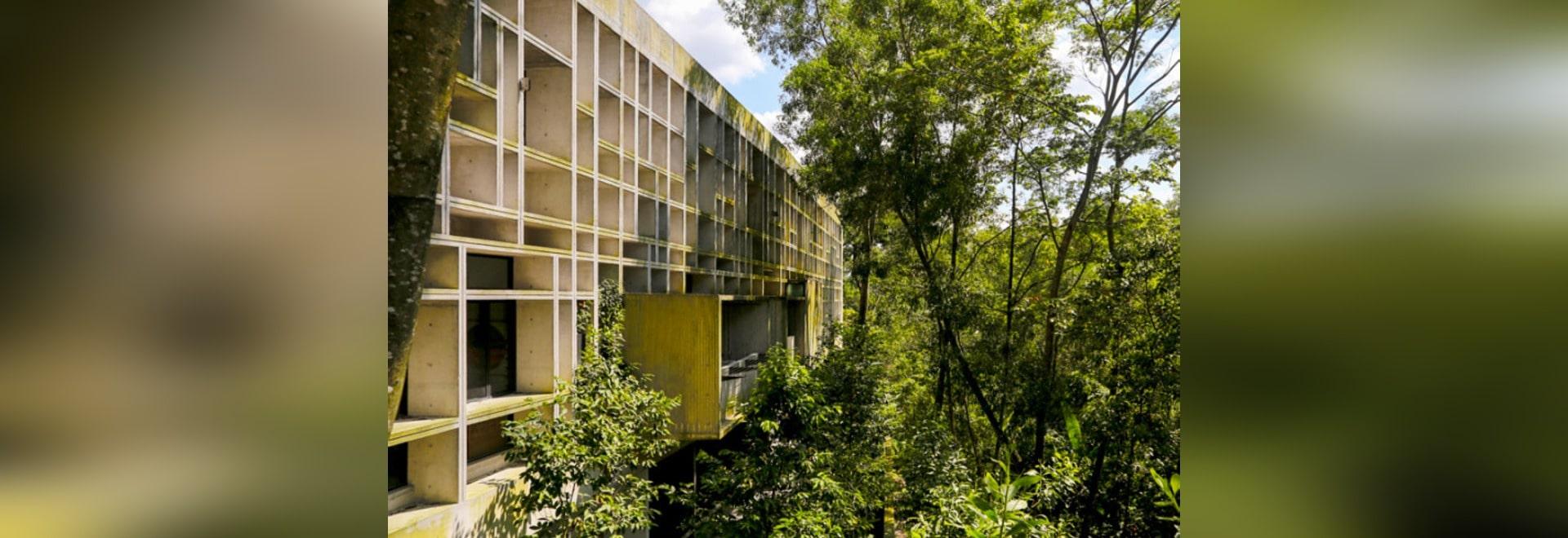 Tropisches Kasten-Haus bleibt mit geometrischer perforierter ...