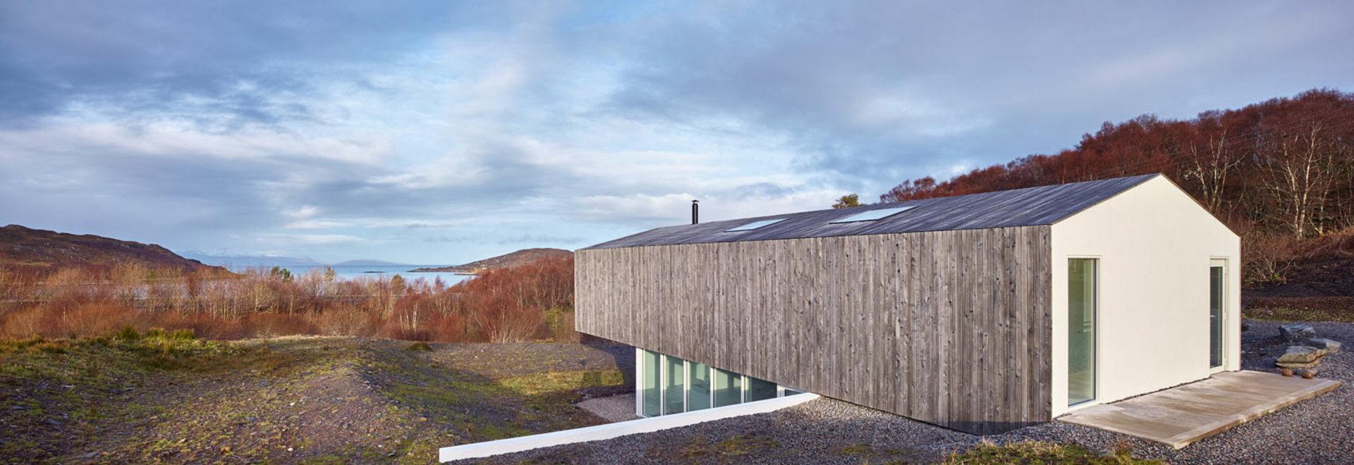 Ein neues Haus in den schottischen Hochländern ahmt ein Teleskop ...