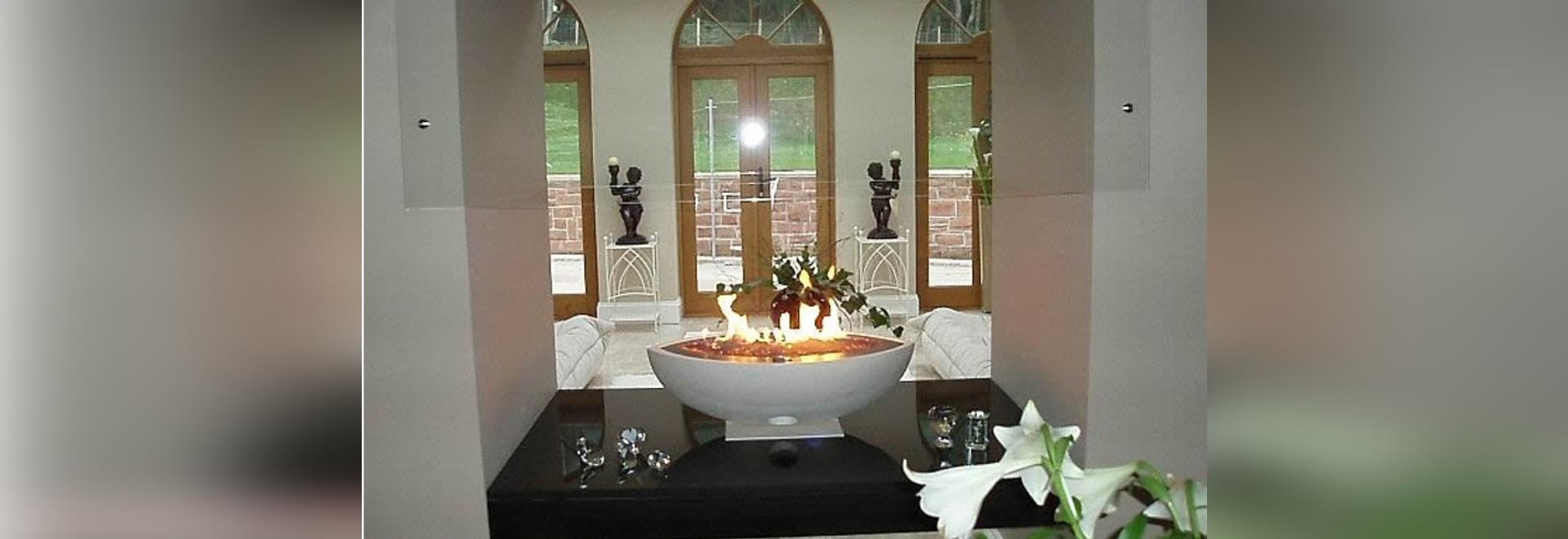 Privater Wohnsitz großes ovales weißes Gas Firebowl