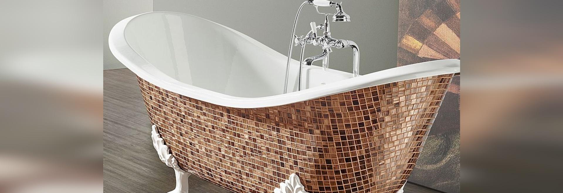 Roheisenbadewanne im Mosaik: geben Sie eine Note des Charmes zu Ihrem Badezimmer!