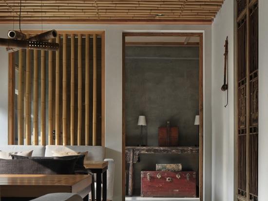 minggu Entwurf installiert Bambusstöcke als ¢¢VISUAL GUIDE''-Testblätter in chinesisches Restaurant