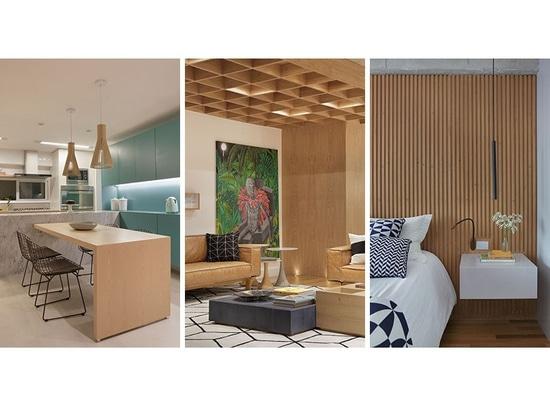 Die Innenarchitektur dieser brasilianischen Wohnung kennzeichnet ...