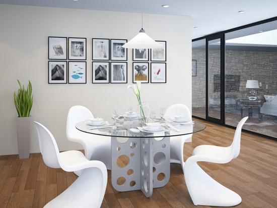 Runde konkrete Tabelle der Blase mit Glasplatte für Esszimmer