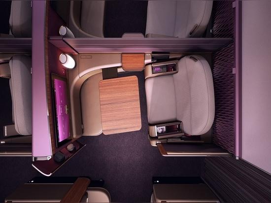 Luxe Innenraum für Qatar Airways A380. Höflichkeit von Priestmangoode.