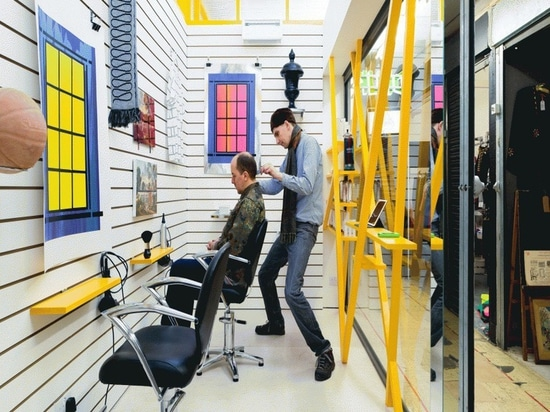 Innenarchitektur-Scheinwerfer: Sam Jacob-Entwürfe Peckham-Friseursalon, wo Kunden Grafik anstelle selbst betrachten