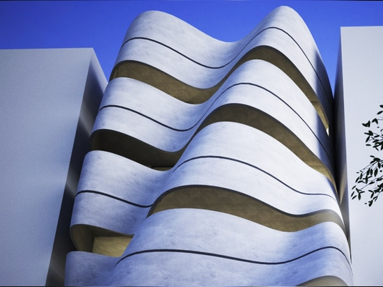 tatsächlich ficht Studio Neu-Delhis Wohnlandschaft mit einer leichten gebogenen Fassade an