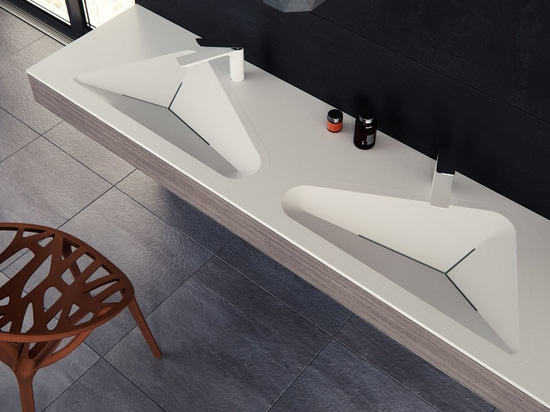 Das Monolit-Badezimmer Sink By Le Projet Was angespornt durch die täglichen Formen gefunden in einer städtischen Umwelt