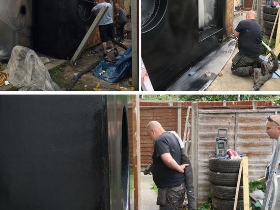 Schwarze Gummibeläge die Erweiterung auf diesem Haus in London