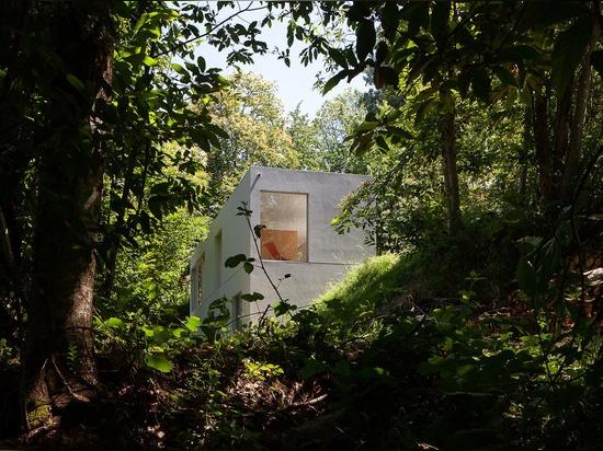 Pablo Pitas schmiegt sich geometrisches Forja-Haus unter Bäumen im portugiesischen Tal an