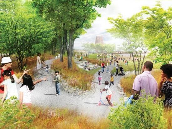 Studiogruppe + SCAPE decken Pläne auf, um einen Ufergegendpark in Memphis, Tennessee neu zu entwerfen