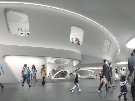 Roboter-Wissenschafts-Museum in Seoul wird durch Roboter und Brummen errichtet