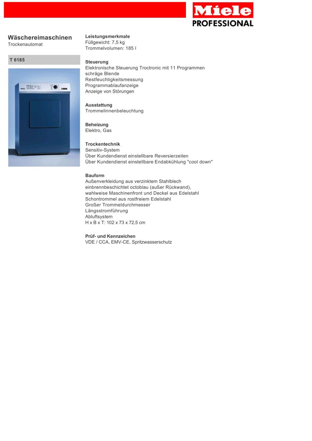 Miele T 6185 - Miele PROFESSIONAL - PDF Katalog | Beschreibung ...