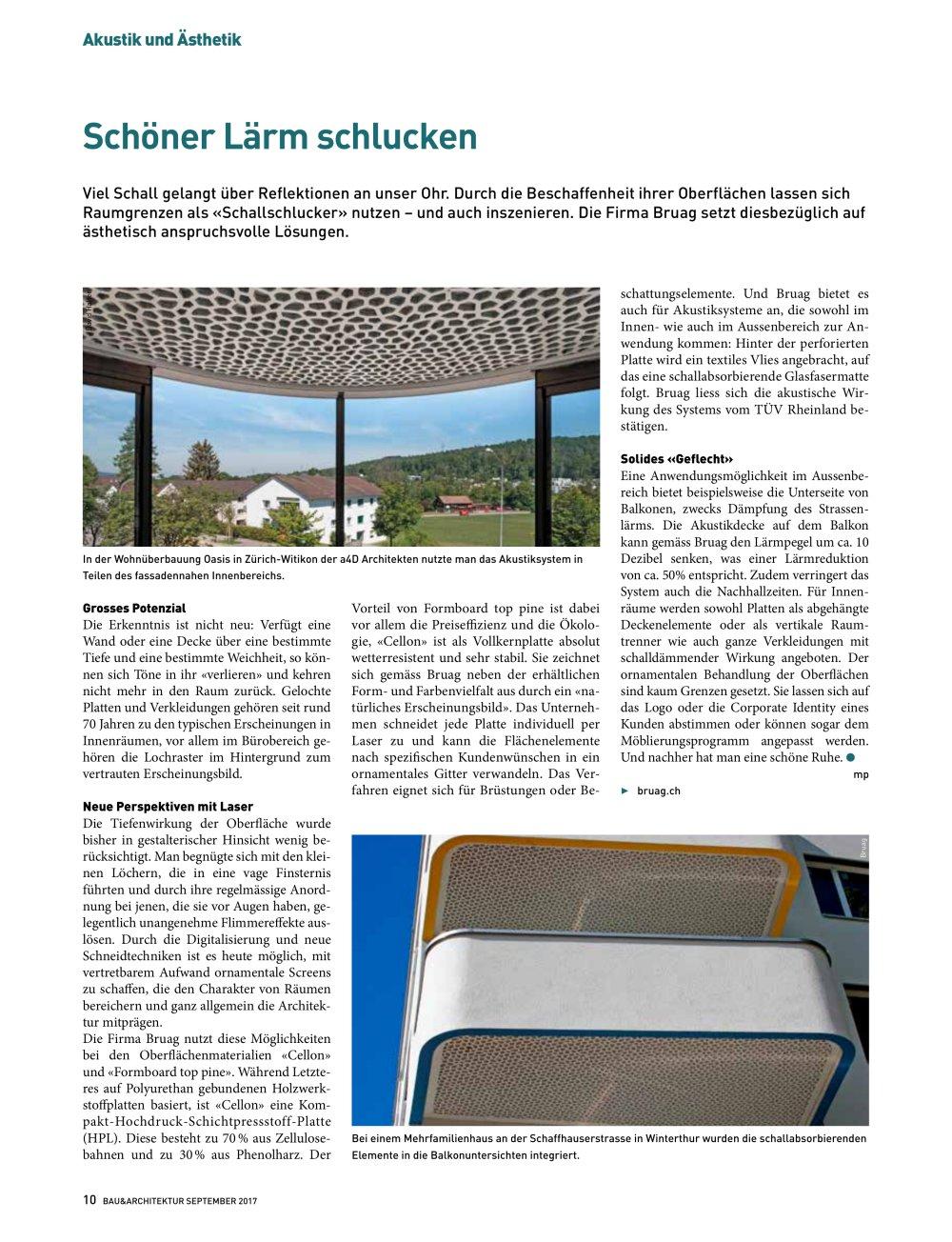 Pressebericht Schöner Lärm schlucken Bau & Architektur Ausgabe Sept ...