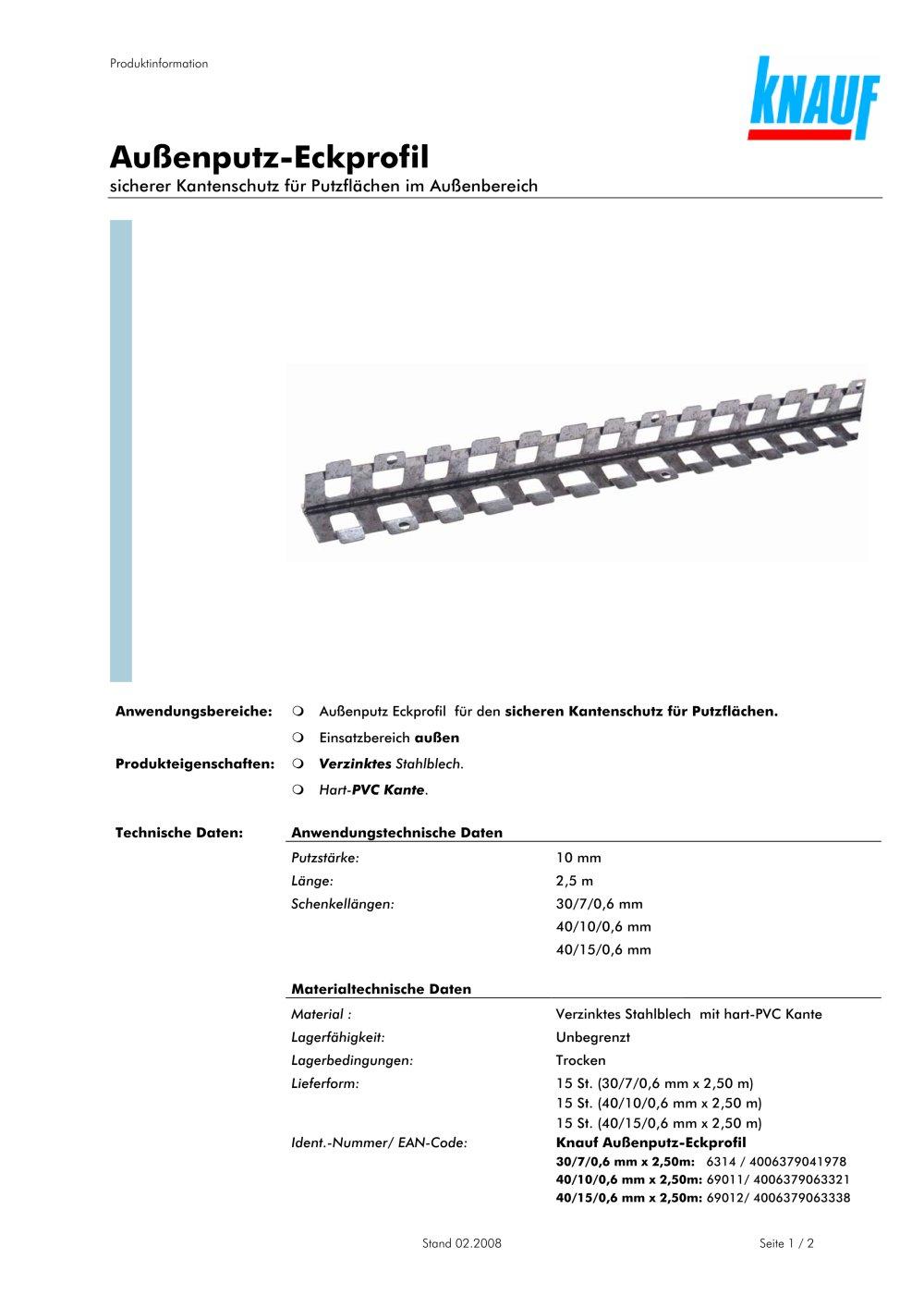 knauf außenputz-eckprofil - knauf - pdf katalog | beschreibung