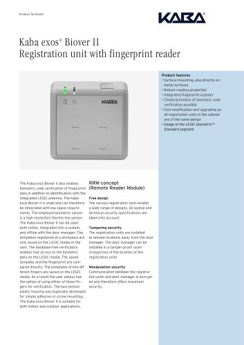 Kaba exos® Biover II Registration unit with fingerprint reader