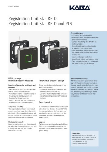 Registration Unit SL - RFID