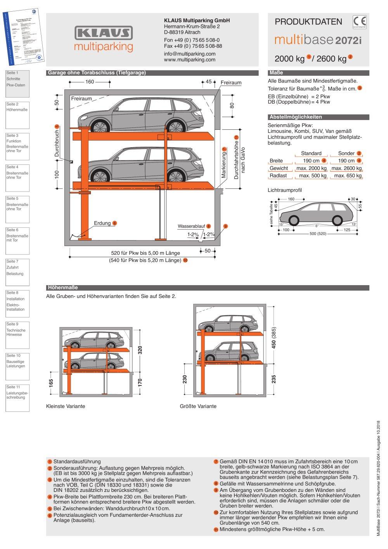 MultiBase 2072i - KLAUS Multiparking GmbH - PDF Katalog ...